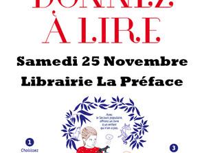 """Opération """"Donner à Lire"""" à la librairie    la Préface - Samedi 25 novembre 2017"""