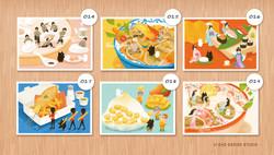 肥貓第三組 / 世界美食之旅系列明信片