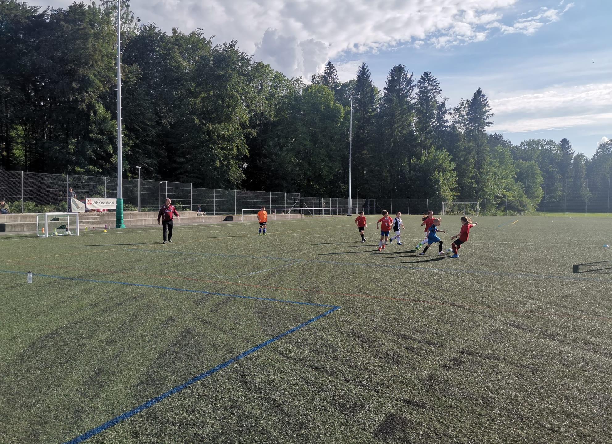 """Endlich wieder """"mätschle"""": Die E-Junioren treten im Training gegeneinander an."""