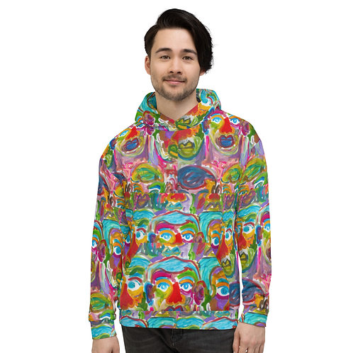 """All over print hoodie """"Faces"""""""