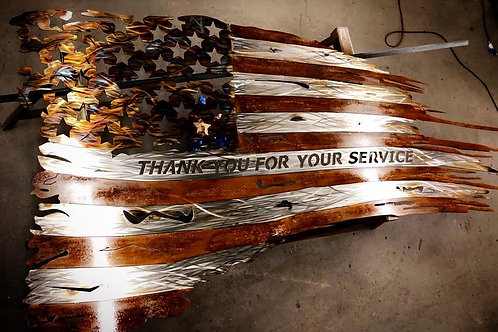 """10' TATTERED """"THANK YOU"""" FLAG DXF"""