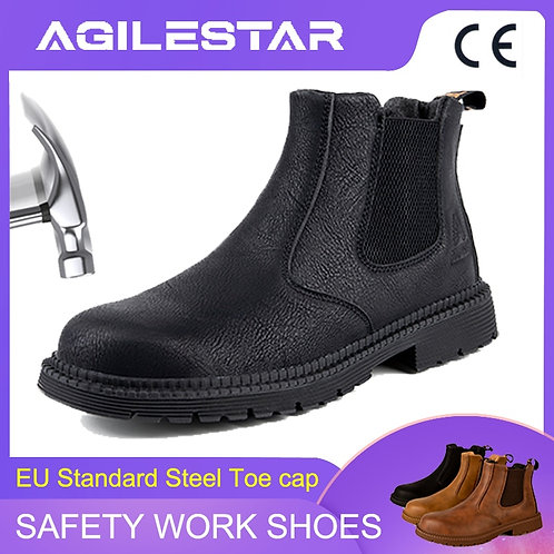Men's Chelsea Steel Toe Cap Safety Working Leather Slip on Ankle Boots