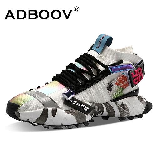 ADBOOV High Fashion  Men Knit Upper Chunky Sneakers Trainers