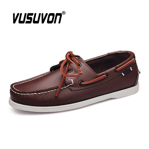 Loafers Men Genuine Leather Retro Fashion Boat Shoes