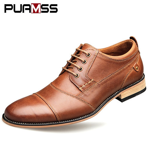 Top Quality Oxfords British Style Men Genuine Leather Dress Shoes