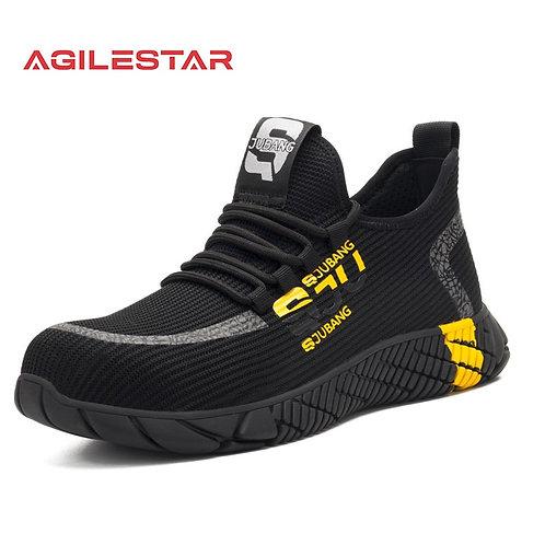 2021 Men's  New Breathable Mesh Safety Light Sneaker Steel Toe Anti-Piercing