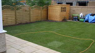 Full garden make over. New paving, fencing and fresh lawn