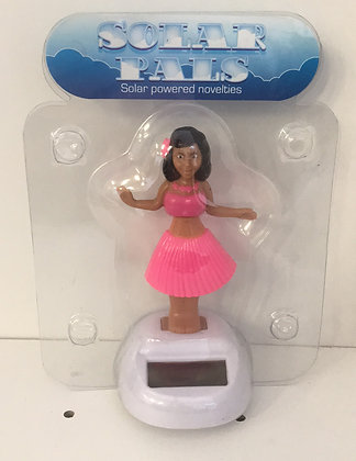 Pink Hula Girl Solar Figure