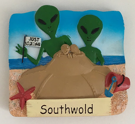 "Southwold Aliens ""Just Visiting"" Fridge Magnet"