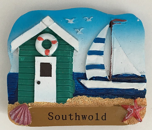 Southwold Beach Hut & Yacht Fridge Magnet