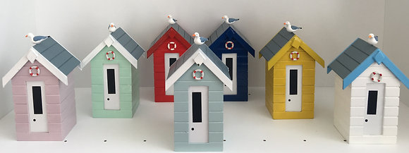 Medium Beach Hut Money Box with Seagull