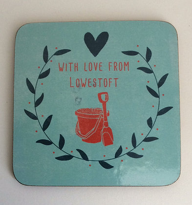 """""""With Love From Lowestoft"""" Bucket & Spade Coaster"""