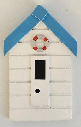 White Beach Hut Fridge Magnet