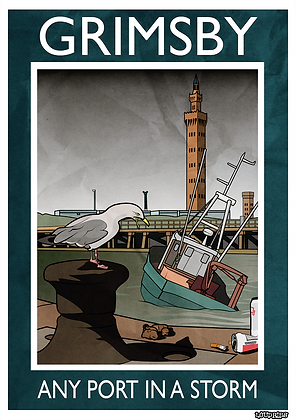 """Rubbish Seaside """"Grimsby Any Port In A Storm"""" Card"""