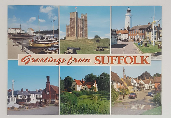 """Greetings from Suffolk"" Postcard"