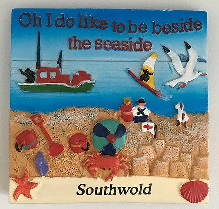 "Southwold ""Oh I Do Like To Be Beside The Seaside"" Fridge Magnet"