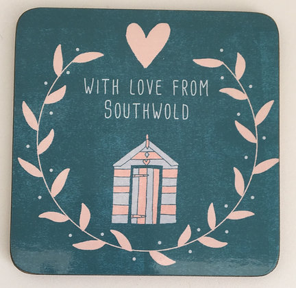"""With Love From Southwold"" Coaster (Beach Hut)"