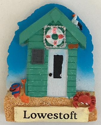 Lowestoft Green Beach Hut Fridge Magnet