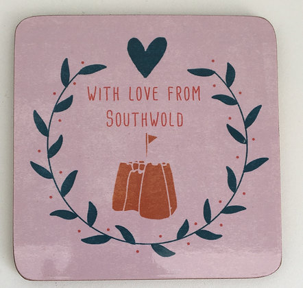 """""""With Love From Southwold"""" Coaster (Sandcastle)"""