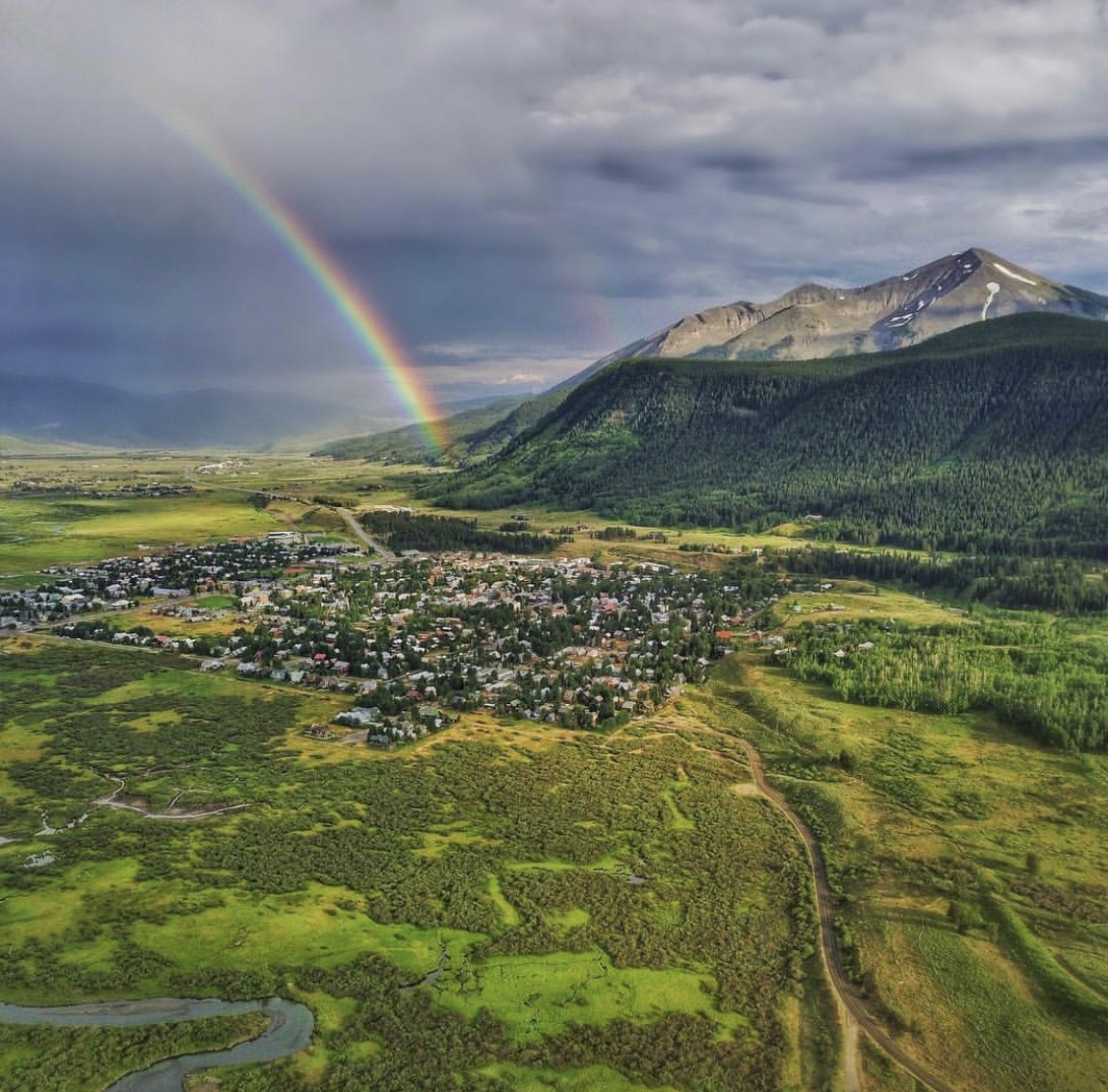 Crested Butte Colorado drone rainbow