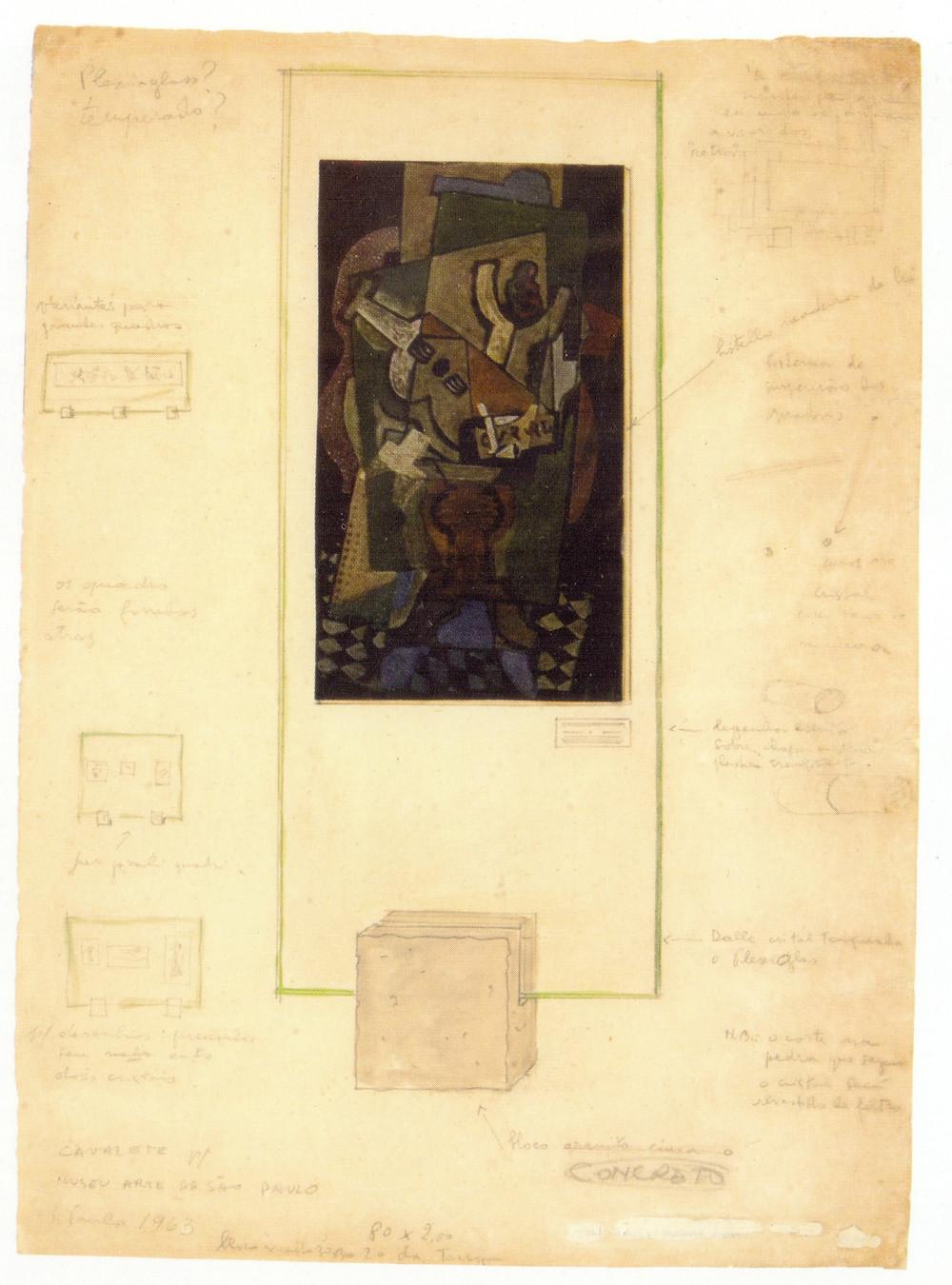 Fig. 1. Croqui com estudo para os Cavaletes de Vidro, Lina Bo Bardi, 1963.