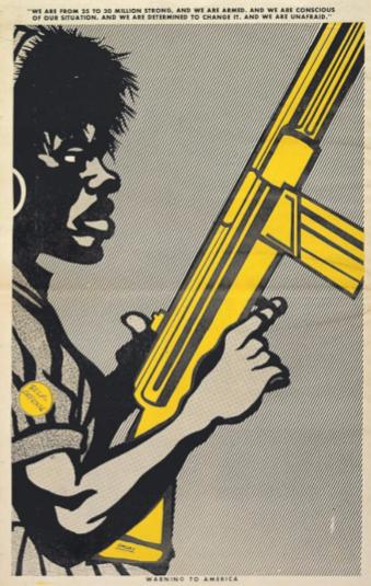 Mulher negra de perfil com semblante combativo portando uma espingarda.