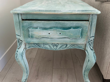 Layered & Distressed: Painted Side Table