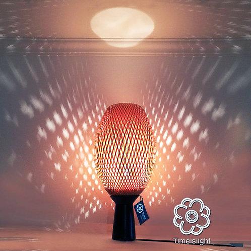 Lampe en bambou COCOON sur socle en grès noir - Ø 28 cm x H 61 cm - Timeislight