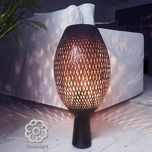 Lampe en bambou COCOON noir sur socle en grès - Ø 28 cm x H 61 cm - Timeislight