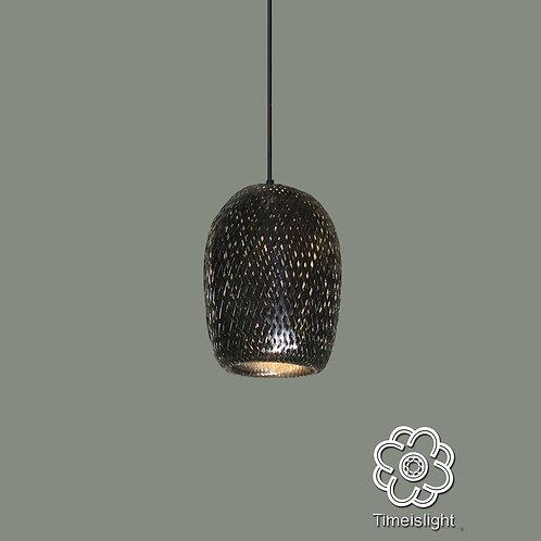 Suspension en bambou tressé laqué noir - Ø 15 cm x H 21 cm - Timeislight