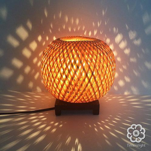 Lampe de chevet ÉCRIN en bambou tressé double peau - Ø 18 cm x H 17,5 cm