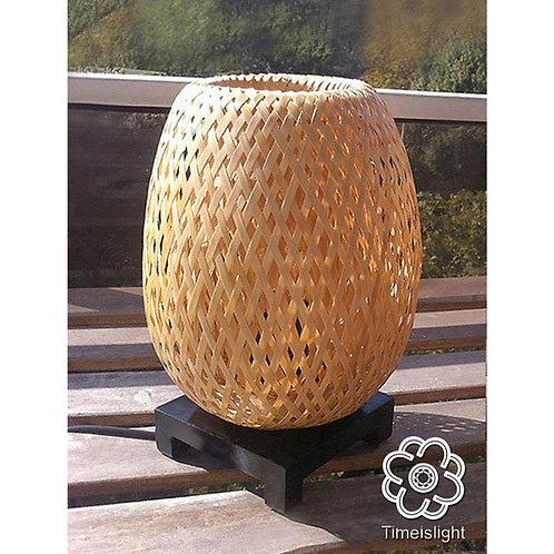 Lampe de chevet BÁNH MÌ en bambou tressé double peau + Variateur