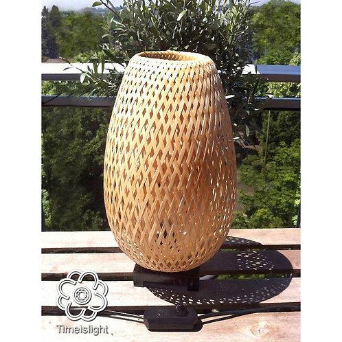 Lampe en bambou tressé + variateur d'intensité lumineuse - Ø 22 cm x H 37 cm