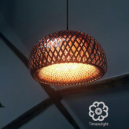 Suspension MÉDUSE noir en bambou tressé - Ø 30 cm x H 18 cm - Timeislight