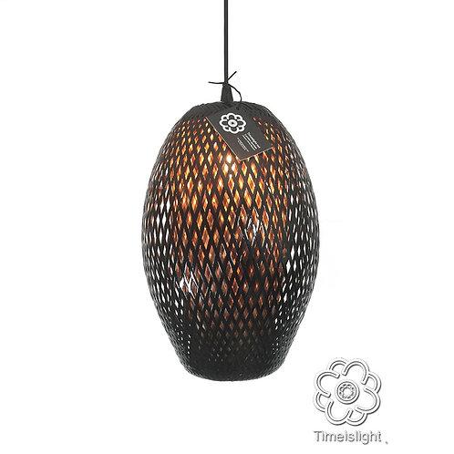 Suspension COCOON en bambou tressé noir - Ø 28 cm x H 43 cm - Timeislight