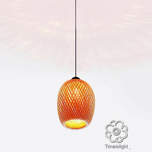 Suspension en bambou tressé double peau - Ø 15 cm x H 21 cm - Timeislight