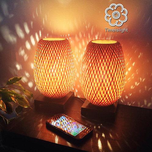 Paire de lampes de chevet BÁNH MÌ en bambou + Variateurs  Ø 15 cm x H 23,5 cm