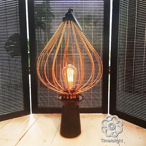 Lampe sur socle en grès noir HIRONDELLE LIEU - Ø 30 cm x H 55 cm - Timeislight