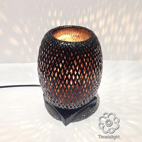 Lampe de chevet BÁNH MÌ en bambou laqué noir + Variateur Ø 15 cm x H 23,5 cm