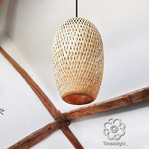 Suspension en bambou tressé double peau - Ø 20 cm x H 31 cm - Timeislight