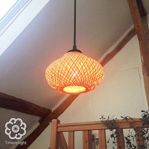 Suspension CANOPÉE en bambou tressé double peau - Ø 22 cm x H15 cm - Timeislight