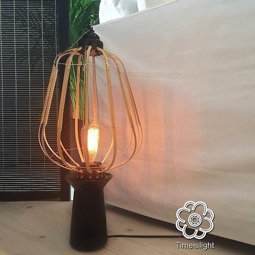 Lampe sur socle en grès noir HIRONDELLE LOAN - Ø 27 cm x H 55 cm - Timeislight