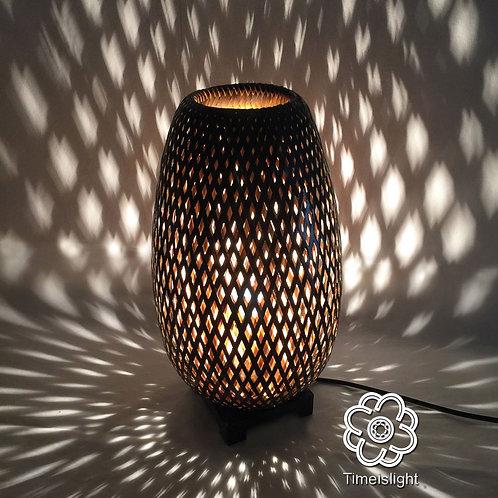 Lampe en bambou tressé noir + variateur - Ø 22 cm x H 40,5 cm - Timeislight