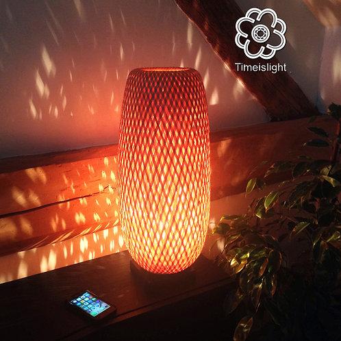 Lampe en bambou ROSEAU - LED flamme - Ø 23 cm x H 55 cm - Timeislight