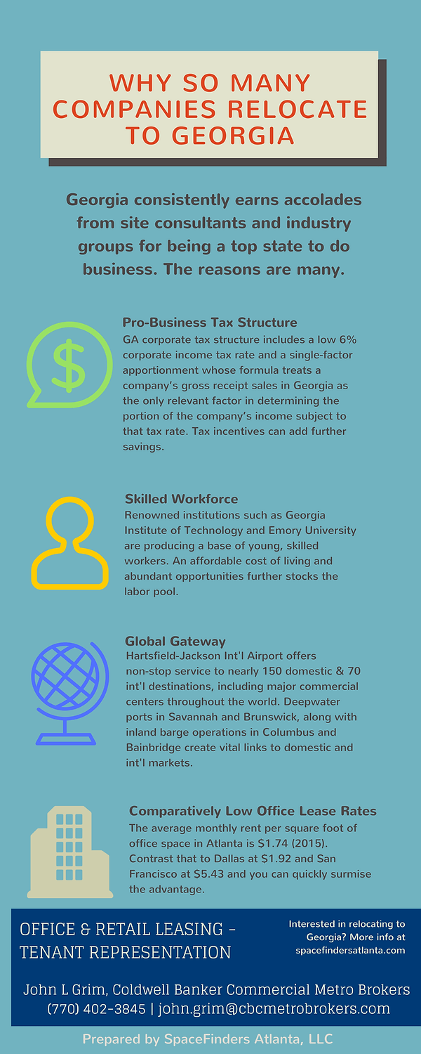 infographic of why so many companies relocate to Georgia