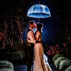Rainy wedding night shot