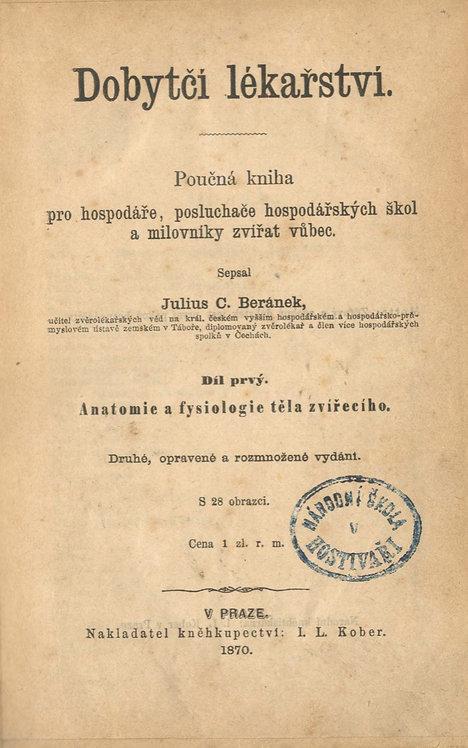 Beránek C. Julius, Dobytčí lékařství.