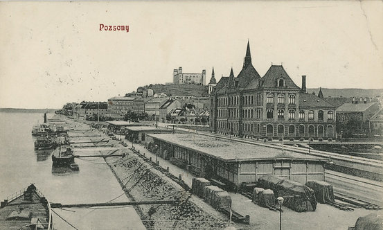Pohľadnica Pozsony / Bratislava, Pohľad na prístav a hrad