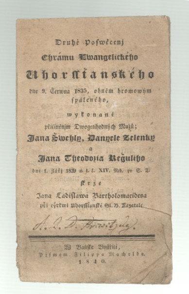 Druhé Poswěcenj Chrámu Ewangelického Uhorssťanského