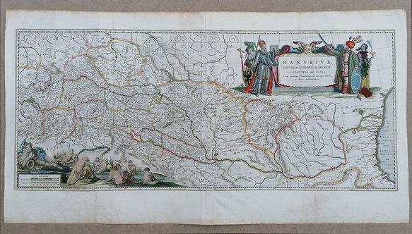 Mapa Dunaja - DANVBIVS, FLUVIUS EUROPAE MAXIMUS, A FONTIBVS AD OSTIA
